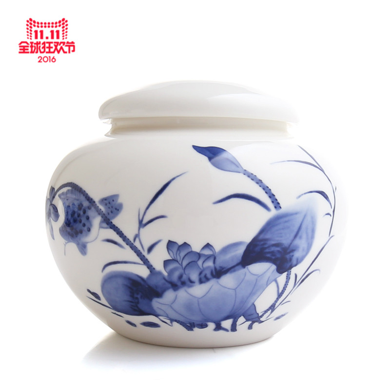 Wen chen jingdezhen hand painted blue and white porcelain tea caddy large ceramic storage jars sealed cans boxes of tea tea