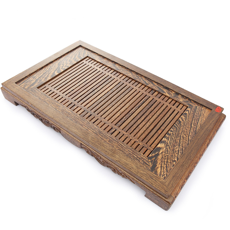 Wenge wood tea tray large drainage piece of ebony wood tea tea sets tea table tea table tea sea tea tray drawer tray extension