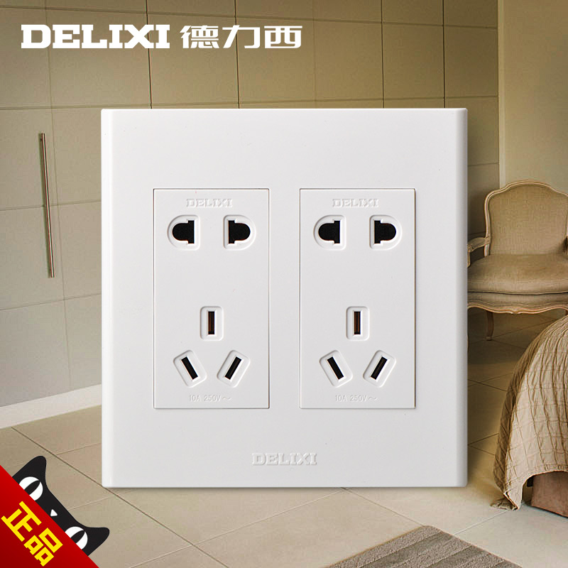 West germany 120 type switch socket panel ten holes 10 hole wall switch socket two five oillet porus