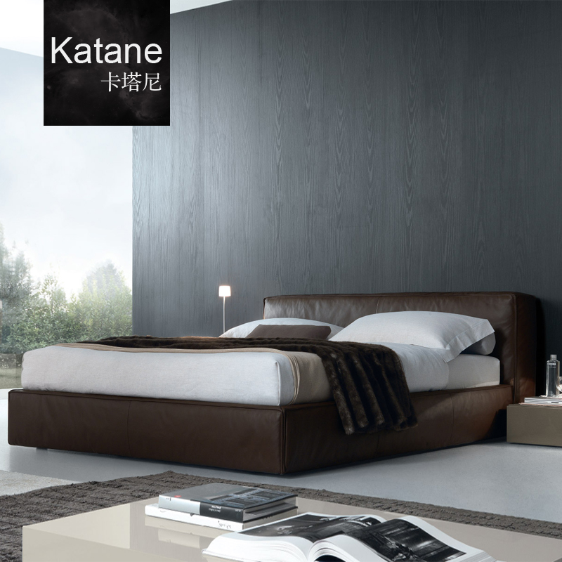 Whakatane beijing modern minimalist italian design 1.8 m double fabric bed leather software bed leather bed
