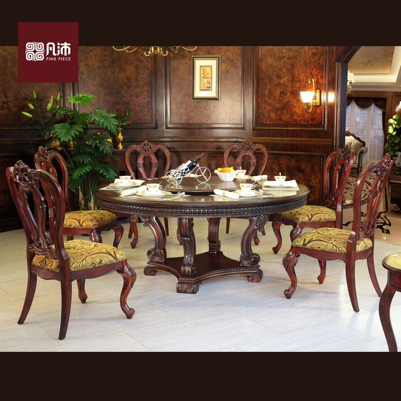 Where pei american continental 1.5 1.8 m rotating turntable turntable round table vintage wood carved dining table and dining chairs combination