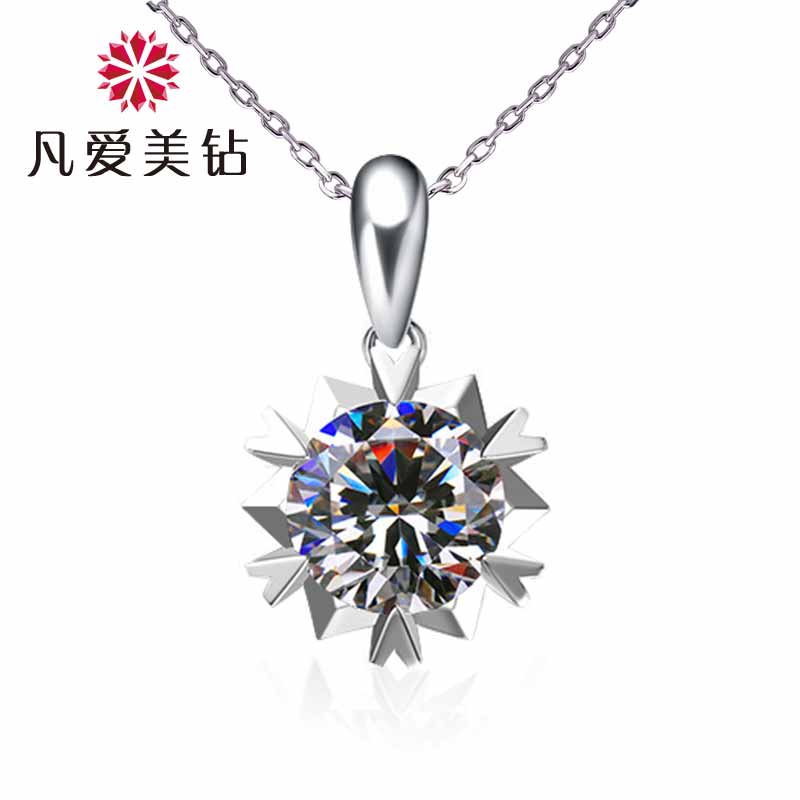 Where the love simulation diamond snowflake pendant necklace female short clavicle chain necklace 925 silver plated platinum pendant female models