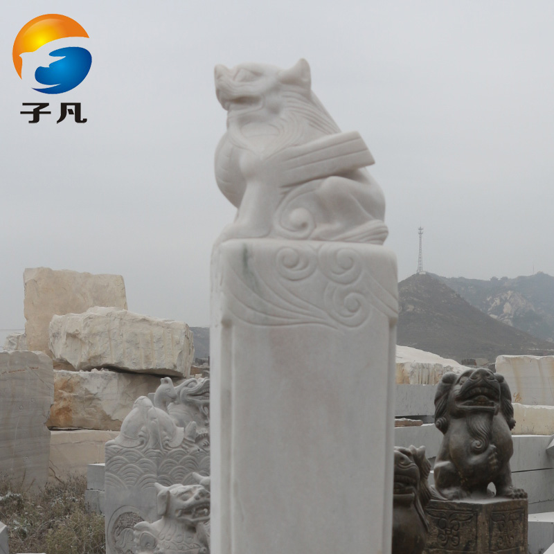 Where the sub archaized natural marble white marble stone carving animal ornaments quartet god hitching post SMZ282
