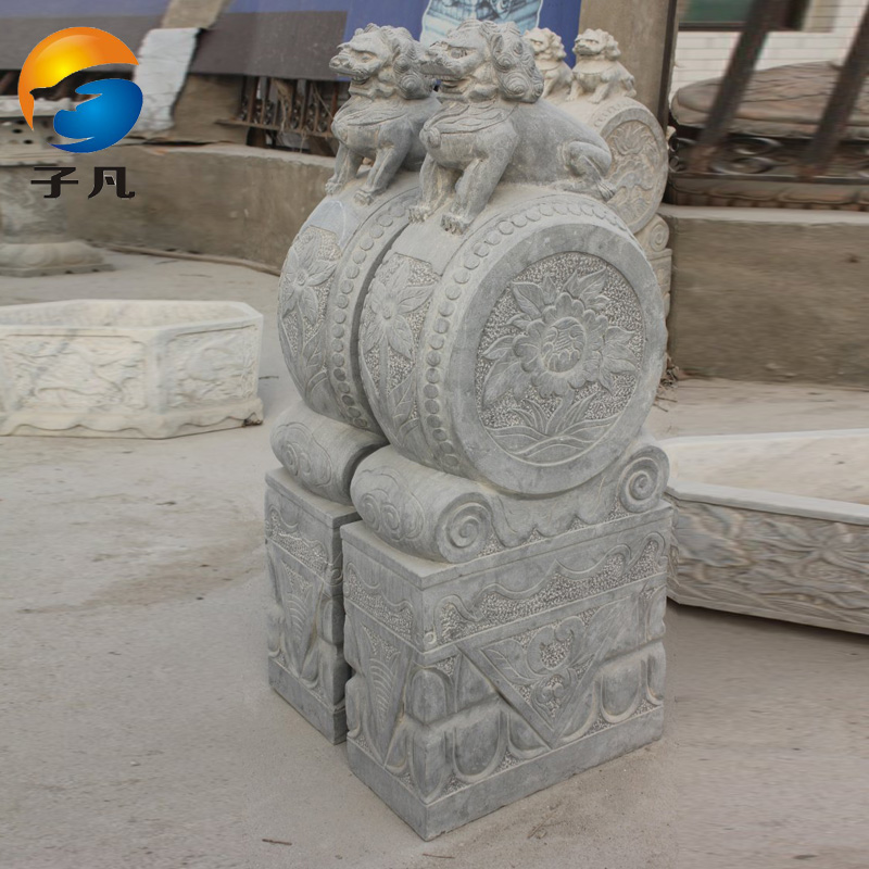 Where the sub genuine antique stone carving stone natural stone bluestone lion lion holding drum mendun door ornaments MD159