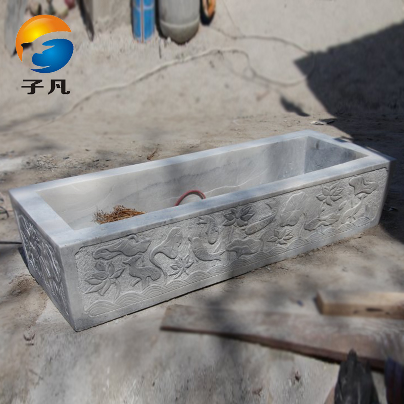 Where the sub natural marble white marble stone carving YG111 aquarium tank lotus flower decorations ornaments