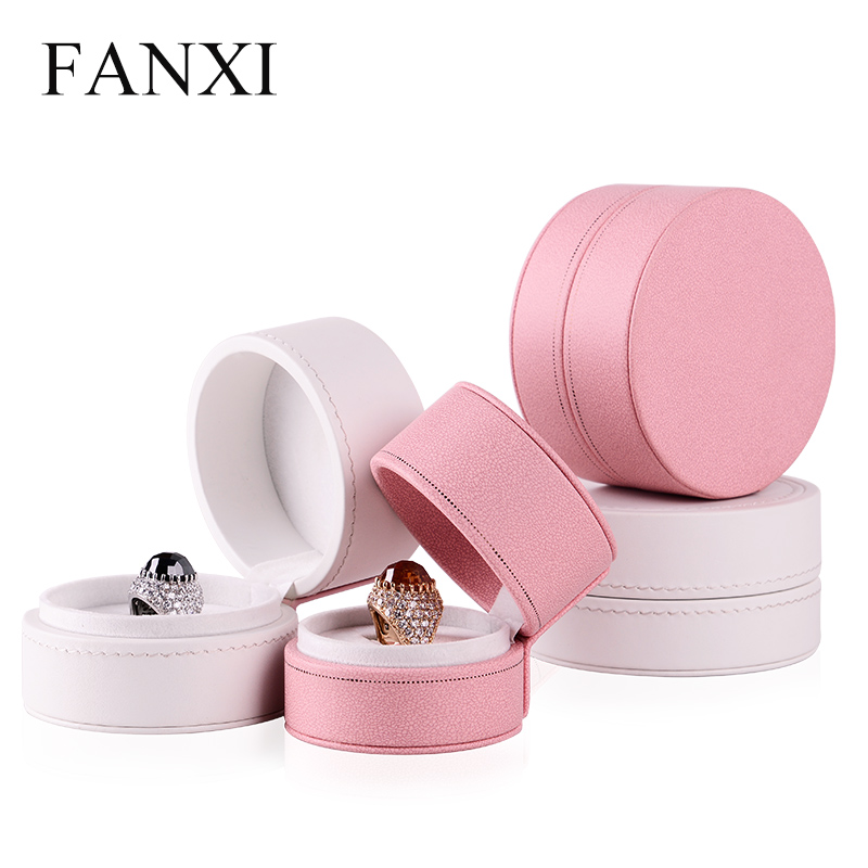 Where the west fanxi new pu leather engagement ring box pendant jewelry box european princess pink velvet h005