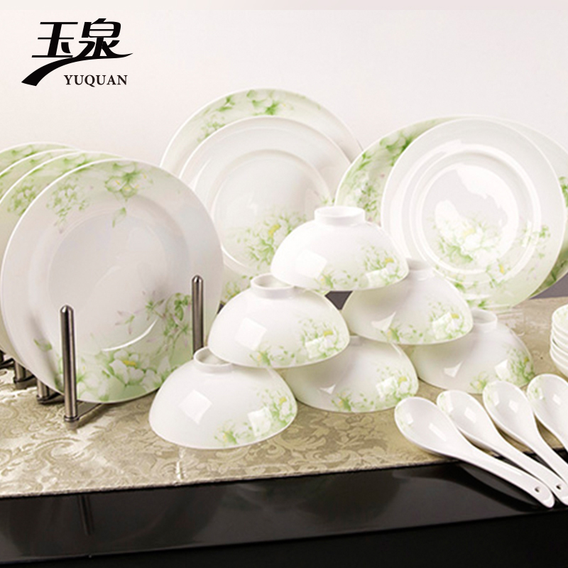 [Whispers] yuquan exquisite chinese bone china tableware suit dishes 20 head of creative simplicity can microwave