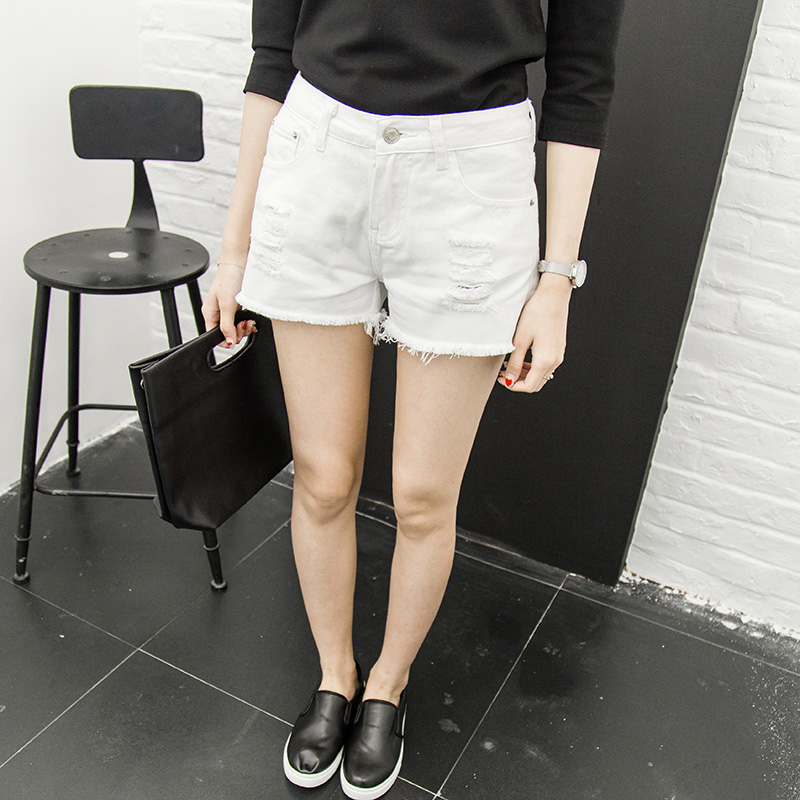 White hole high waist shorts female summer korean version was thin loose wide leg denim shorts shorts wild edges students