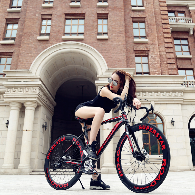 Whove gear dead fly bicycle road bike speed bike for male and female students cycling road racing disc brakes 21 speed