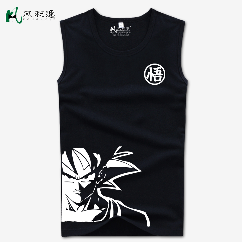 Wind and yi dragon ball t-shirt summer men's short sleeve t-shirt sleeveless vest big yards tide cartoon