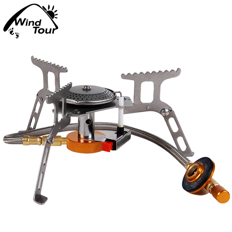 Windproof outdoor stove burner portable camping picnic power split burner gas stove ignition 7962C371