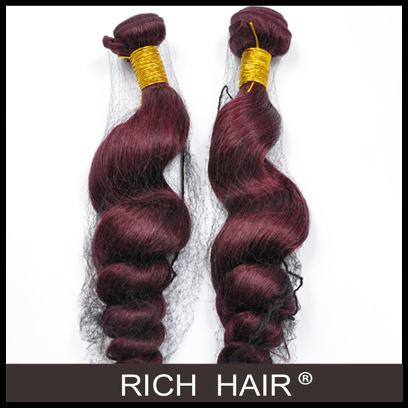 Wine red color loose wave 99j # peruvian human hair extension
