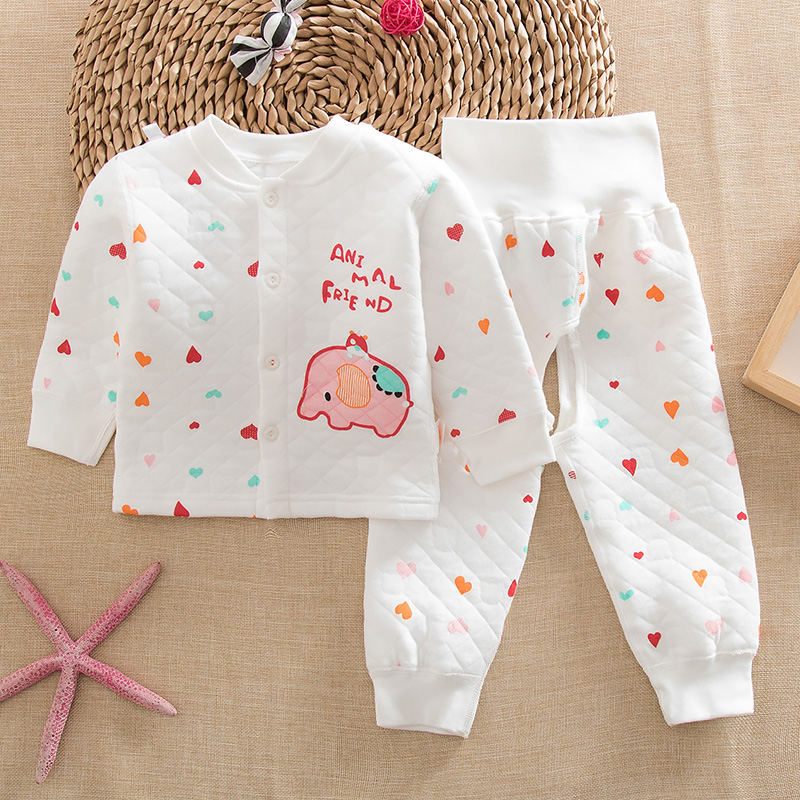 Winter baby care baby belly waist autumn and winter thermal underwear sets children cotton thermal underwear open file suit