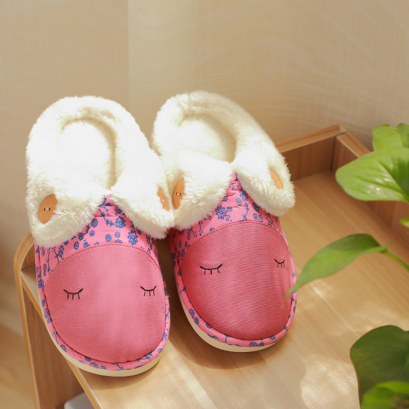 Winter cotton slippers female thick crust with half a pack of cute cartoon couple home slippers slip paul warm month of cotton slippers indoor men