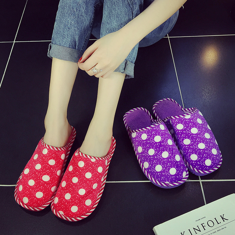 Winter cute couple home cotton slippers for men and women slip warm winter plush slippers thick bottom shoes slip month