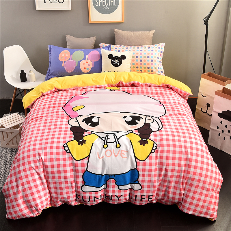 Winter france levin velvet cartoon family of four thick coral velvet linen quilt 1.51.8m crystal velvet warm children girls