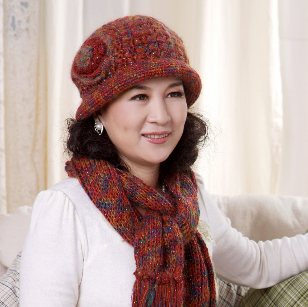 08cf70382b9 Buy Winter hat female korean tidal basin middle-aged ladies winter wool hat  scarf piece elderly mother mom in Cheap Price on Alibaba.com
