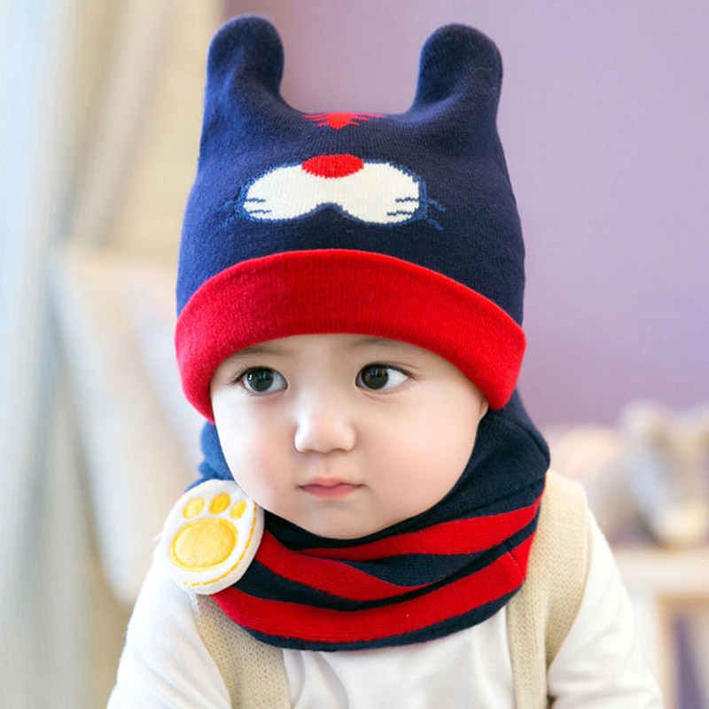Winter months baby hat hedging cap child hat baby boys and girls knit wool hat ear korea
