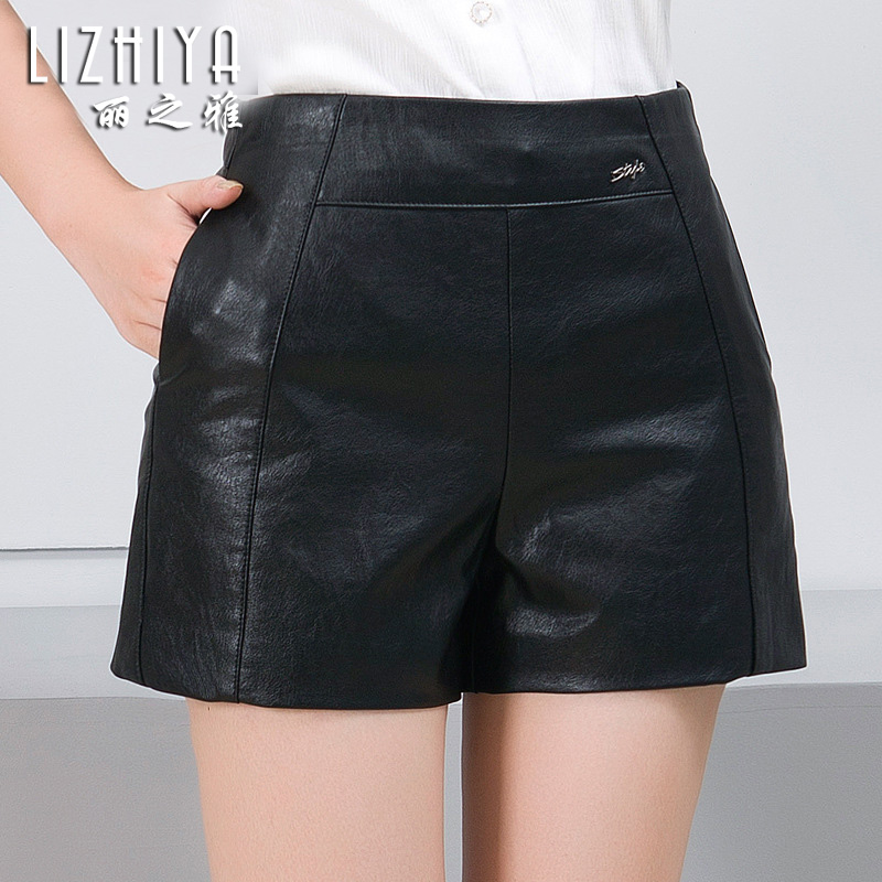 Winter shorts female new winter 2016 u leather shorts female autumn and winter outer wear leather pants waist casual spring and autumn