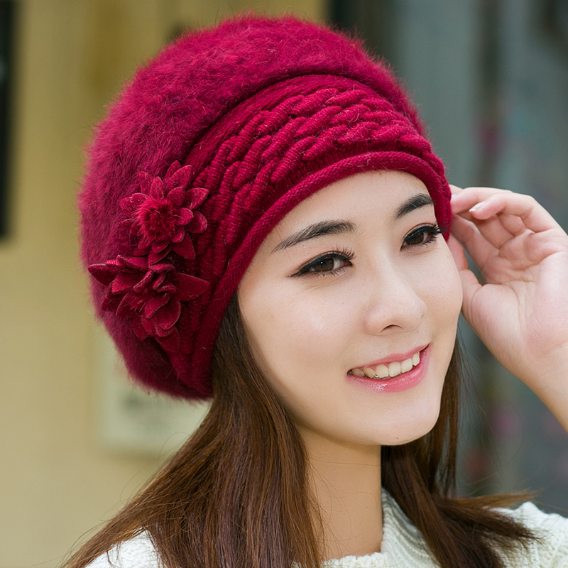 Get Quotations · Winter wool hat female korean temperament with flower  double layer thick warm rabbit fur knit solid ecb3a2e42ca