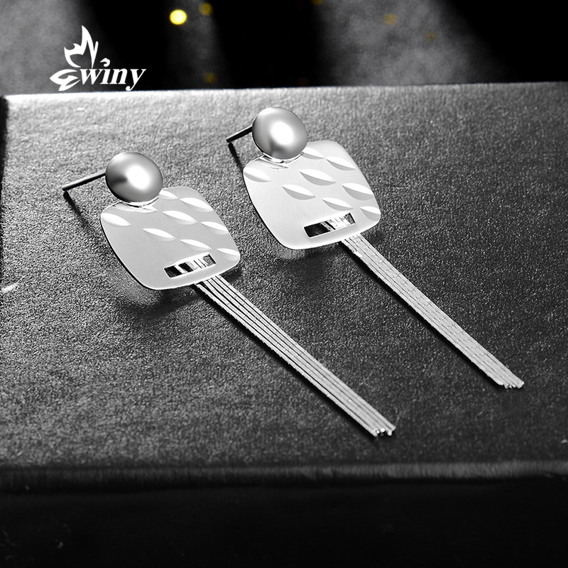 Winy silver charm tassel earrings 925 silver earrings female korean fashion wild simple long section of silver earrings earrings earrings
