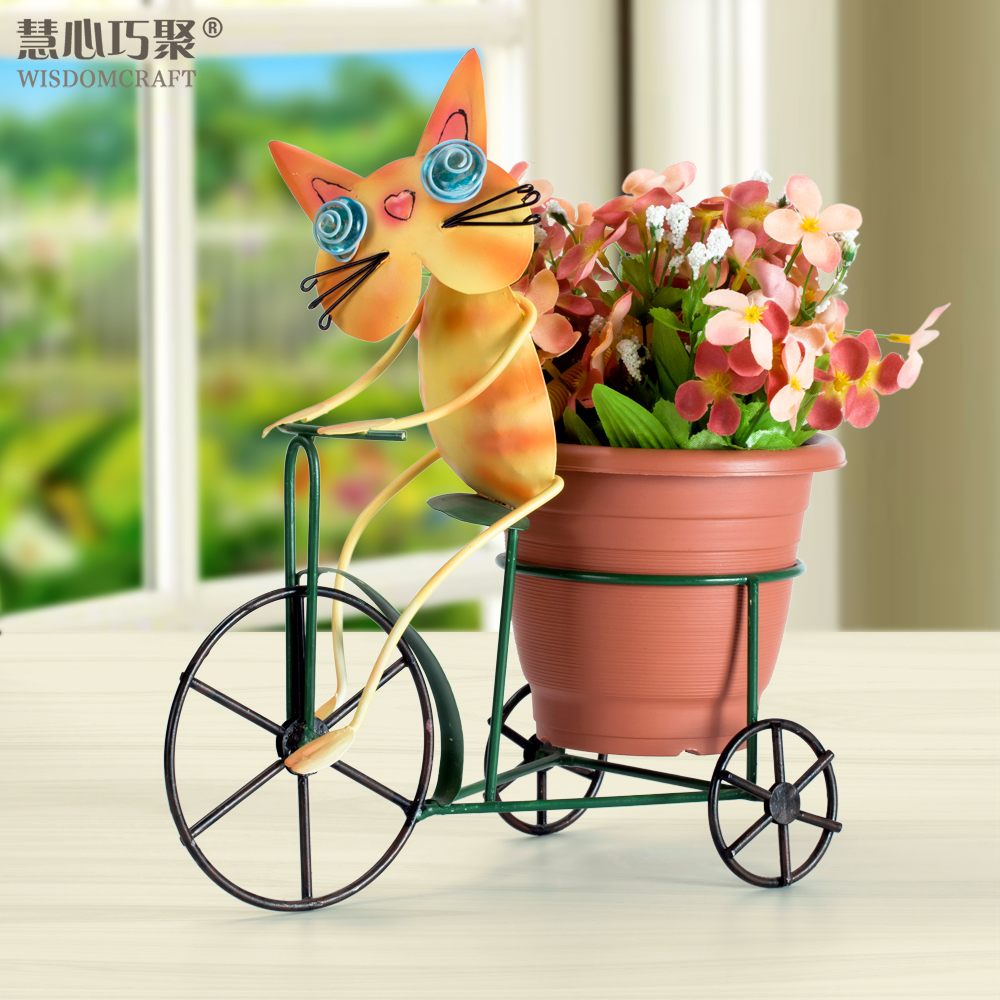 Wisdom clever poly cat ornaments creative home accessories crafts living room pastoral wrought iron flower pots frame ornaments