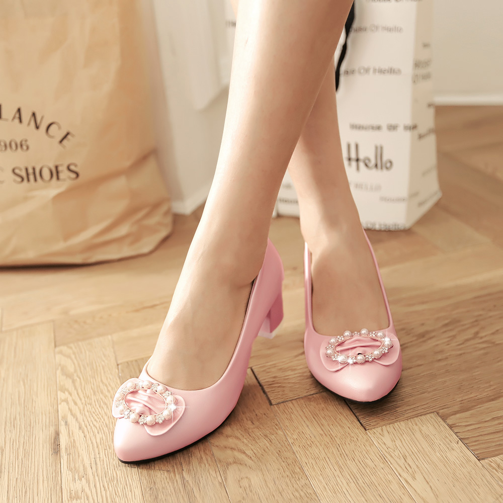 With sweet rhinestone bow round shallow mouth shoes fashion shoes large size small size shoes comfortable thick with elegant