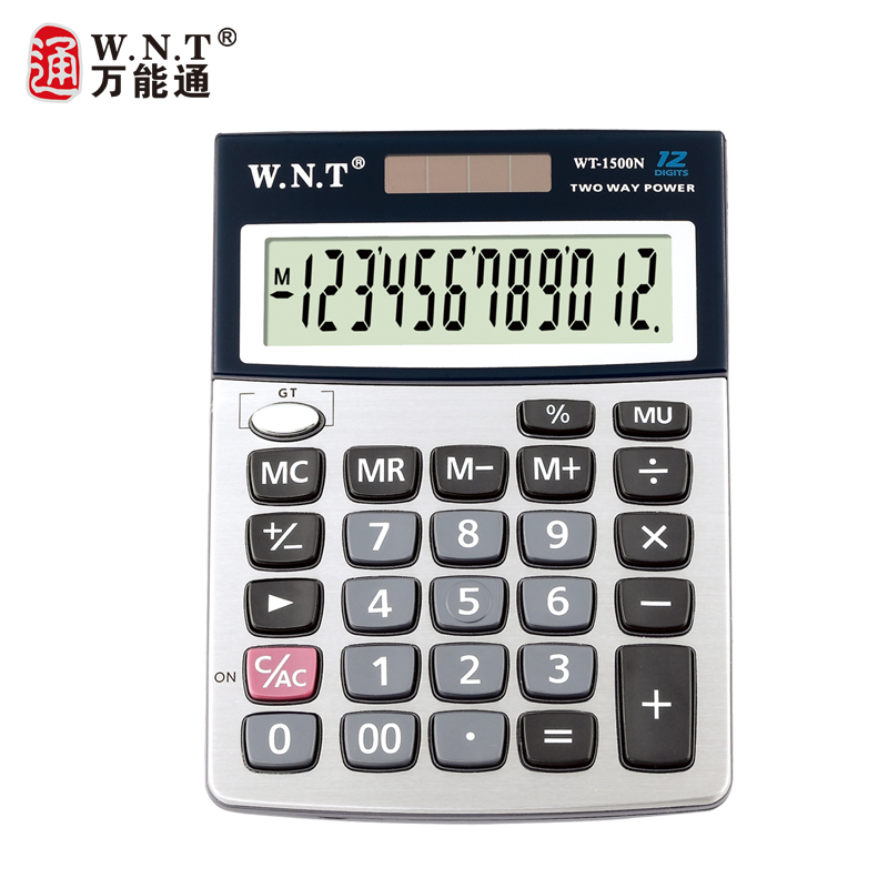 Wnt universal pass calculator WT-1500N computer solar dual power desktop calculator with battery