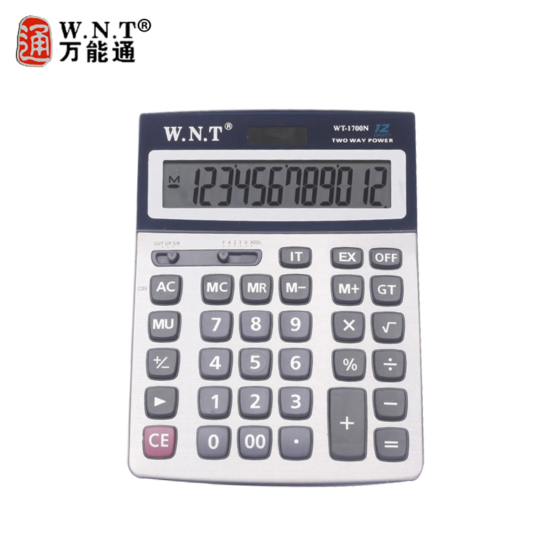 Wnt universal pass calculator wt-1700n computer solar dual power desktop calculator with battery