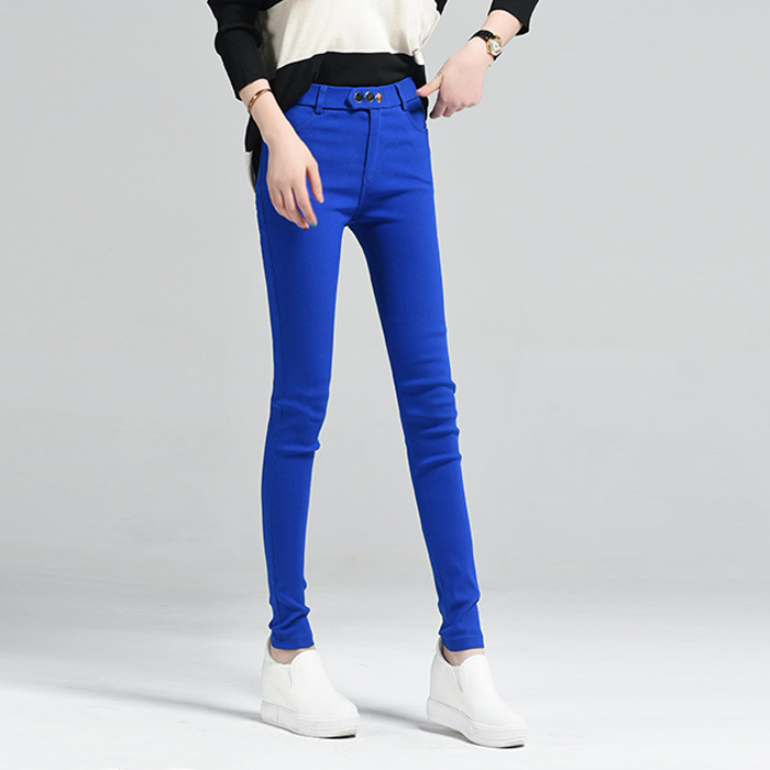 Woman flag 2016 autumn and winter fashion leggings slim thin candy colored pencil pants feet casual trousers waist