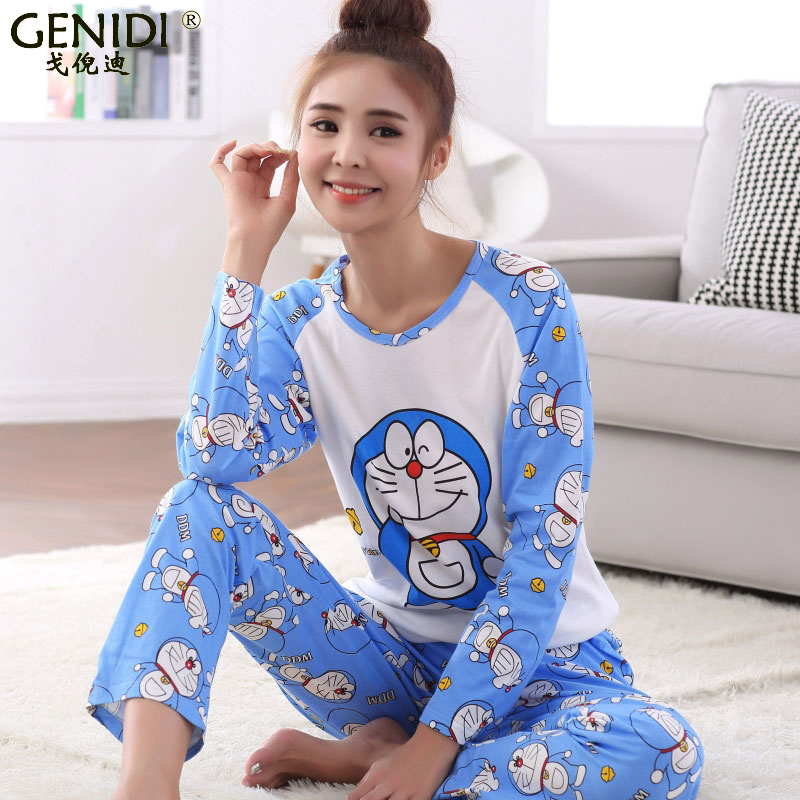 Women korean version of the lovely girl long sleeve cotton pajamas tracksuit fertilizer to increase fat mm sleeved loose pyjamas