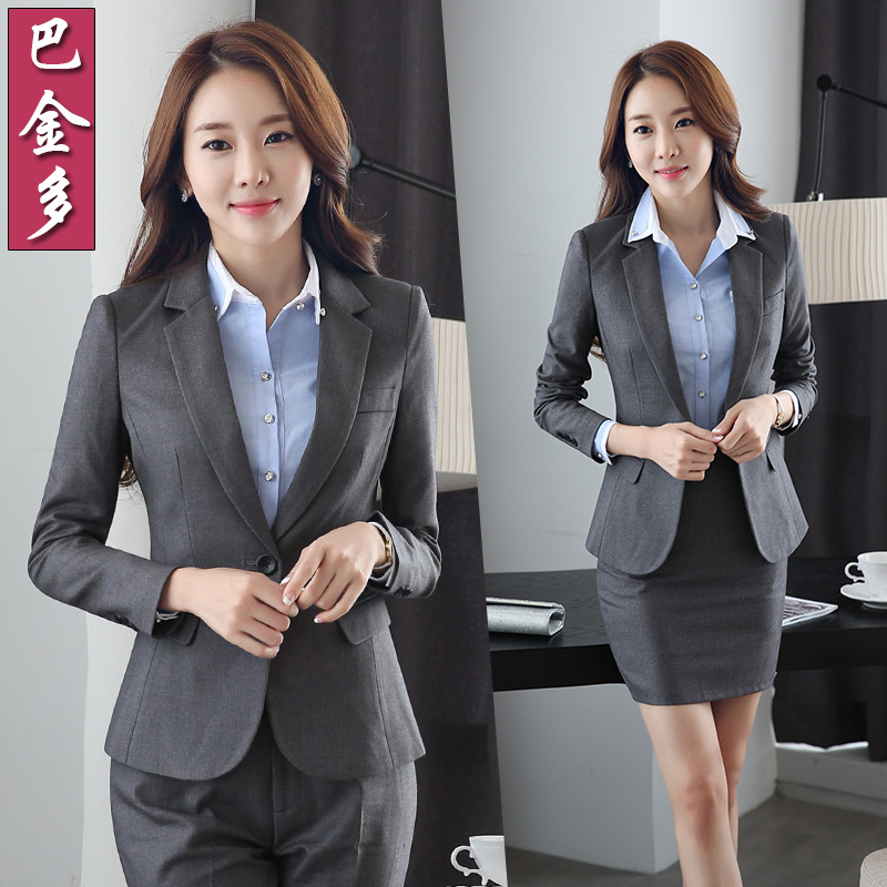 Women wear skirt suits chaps interview suits ol autumn and winter suit collar long sleeve wine shop manager overalls