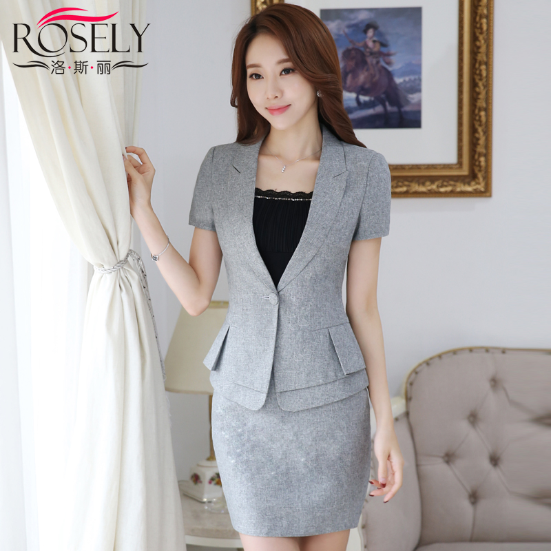 Women wear skirt suits fashion hotel uniforms interview suits women career suits summer female short sleeve