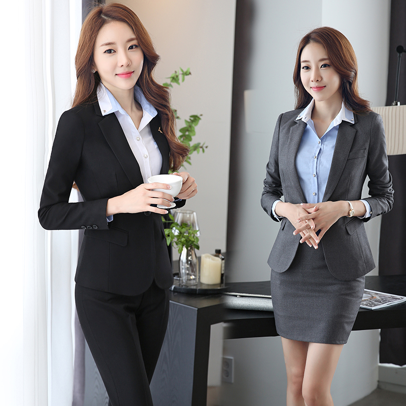 Women's autumn and winter wear chaps sleeved slim suits ladies dress wine shop overalls interview