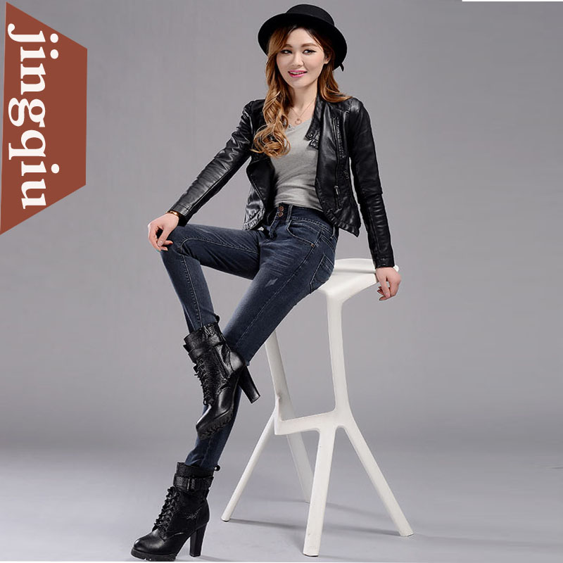 Women's new women's denim pencil pants feet stretch pants slim jeans female feet jeans pants boots big yards