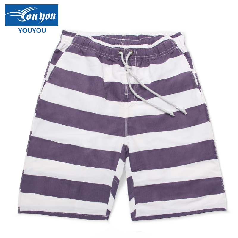 Woo swim summer men's loose sugan striped swim trunks swimming trunks shorts beach pants five pants korean version of the seaside resort in europe and america