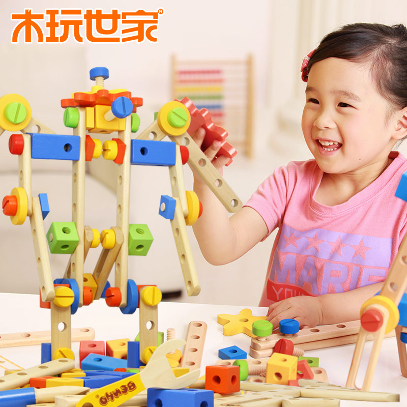 Wooden play family 84pcs deformation king kong toy nut combination of children's educational toys assembled wooden