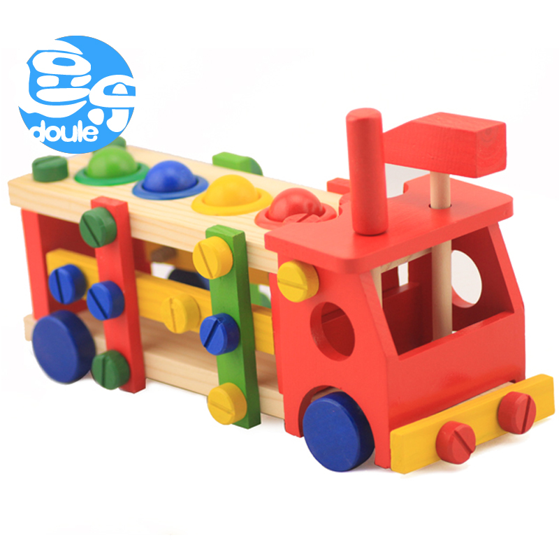 Wooden removable screws car nut combination of children's toys hands removable puzzle force assembled tool boy