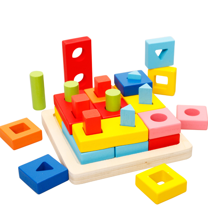 Wooden three-dimensional jigsaw puzzle geometric shapes and young children building blocks puzzle force baby playing with a year old five to six years old