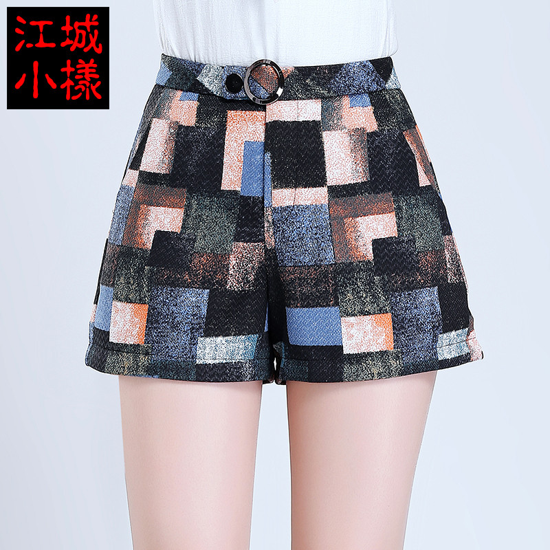 Woolen shorts female autumn and winter outer wear new 2016 korean version of large size plaid high waist wide leg pants were thin woolen shorts