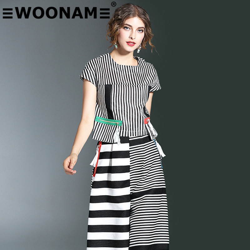 Woonam europe station 2016 summer new european and american fashion female striped stitching t-shirt skirt skirt suit in 811