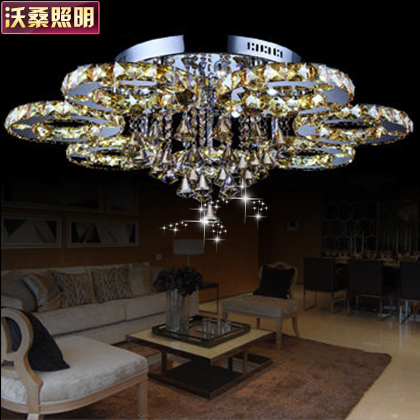 Wosang led crystal lamp living room luxury bedroom lamp modern minimalist restaurant lights round ceiling lamps
