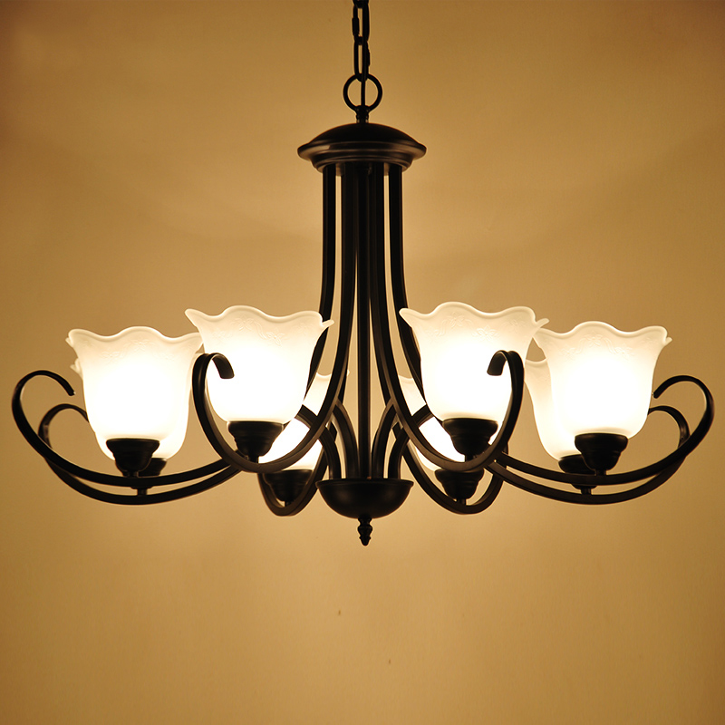 Wrought iron chandelier american country living room lights lying room lamp modern minimalist restaurant lights personality nordic creative lighting lamps
