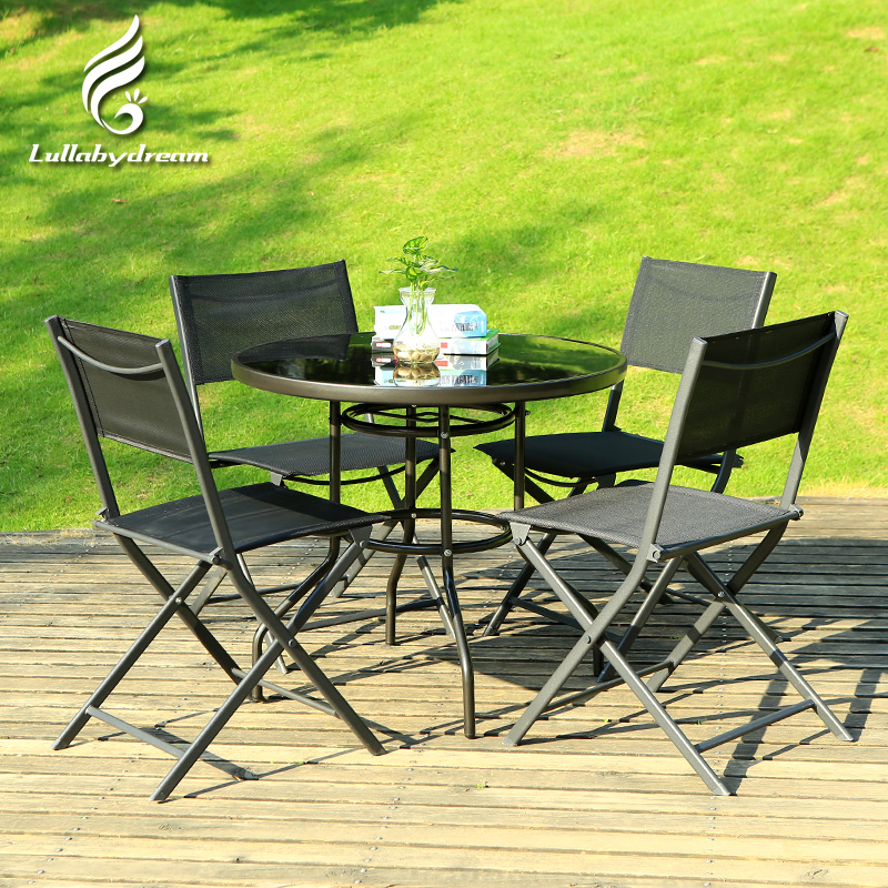 Wrought iron folding teslin outdoor leisure outdoor patio umbrella tables and chairs tables and chairs coffee table three five piece suit