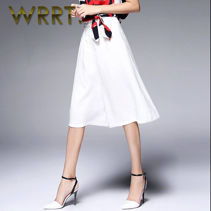 Wrrt 2016 summer new ladies casual fashion casual pants waist solid color seven wide leg pants 3130