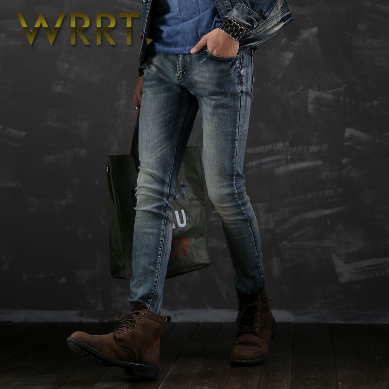 Wrrt 2016 teenagers stretch was thin spring new men's waist washed jeans pencil pants 9654