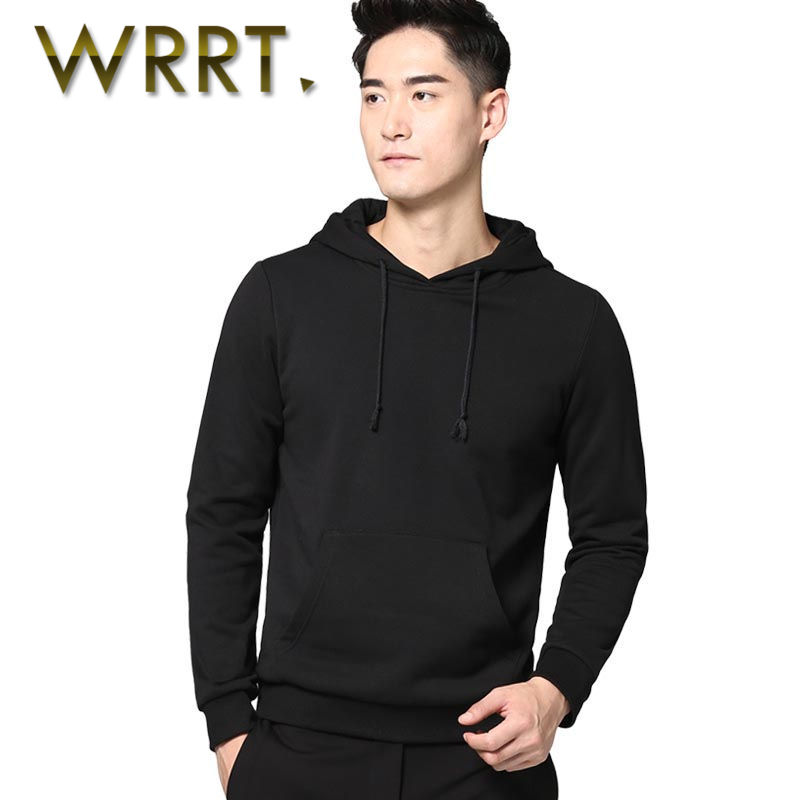 Wrrt european and american minimalist solid color long sleeve pullover shipped move style sweater youth men's casual hooded coat 5568