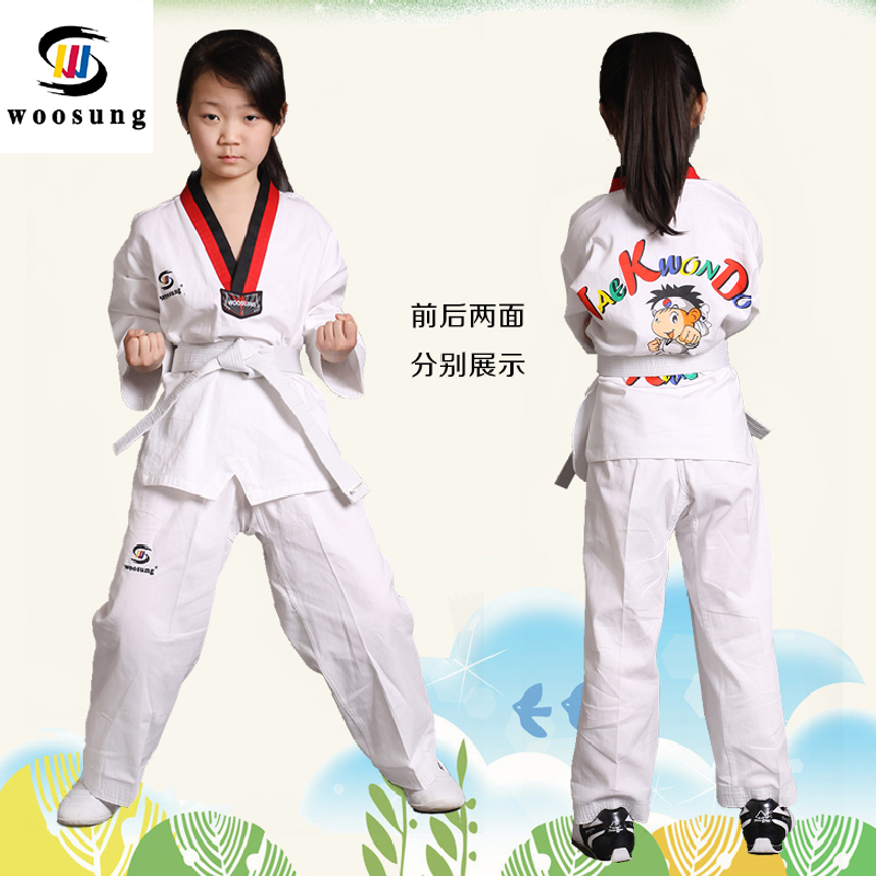 Wu sheng autumn and winter cotton long sleeve short sleeve cotton clothing taekwondo taekwondo suits adult children taekwondo suits for men and women workout clothes