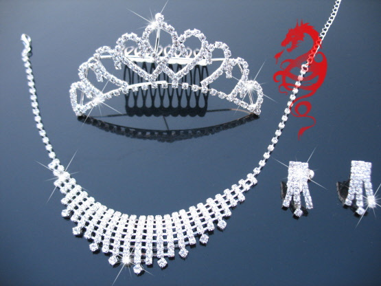 Wujiantao rhinestone necklace earrings wedding bridal headdress hair accessories wedding suit wedding accessories jewelry accessories