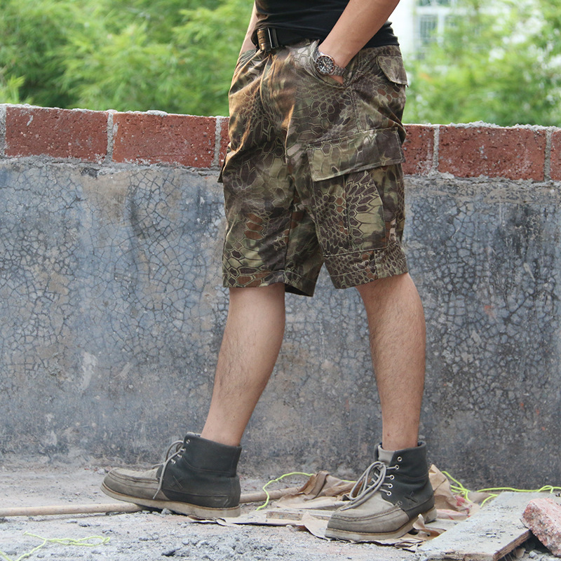Wzjp without thieves combat commando army fans outdoor climbing pants tactical pants overalls male python camouflage shorts pants